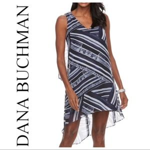 w/TAG DANA BUCHMAN ABSTRACT CHIFON High -Low DRESS